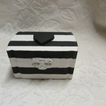 Bold Black and White Striped Nautical or Halloween Wedding Ring Box Pillow with Black Heart