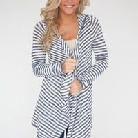 Lightweight Striped Hooded Cardigan - Navy/White