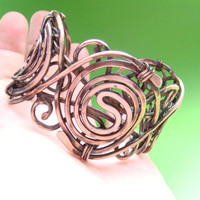 Wire wrapped copper bracelet  for woman.Vintage bracelet. FREE SHIPPING