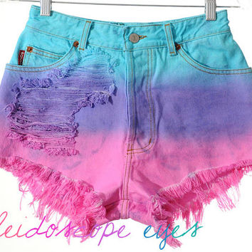 Vintage Bongo Ombre dip Dyed Destroyed Denim High Waist Cut Off Shorts XS S