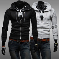 Zippers Decoration Hoodies Men Slim Tops Jacket [6528675203]