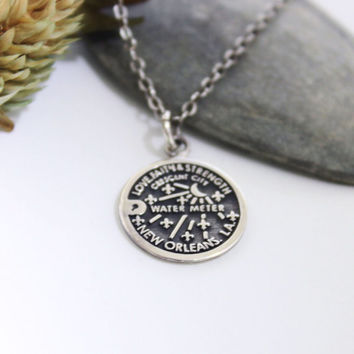 Water Meter Coin Necklace/ Monogram Necklace
