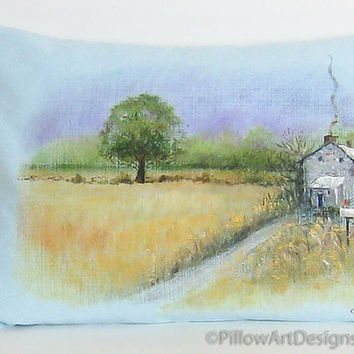 Country Homestead Scene Painted on an Ice Blue Pillow Cover, Home Decor