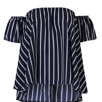 Women's Navy Blue Stripes Off Shoulder T Shirts Blouse