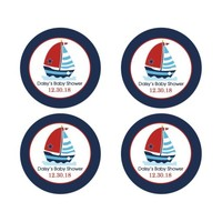 Sailboat Nautical Baby Shower Favor Stickers