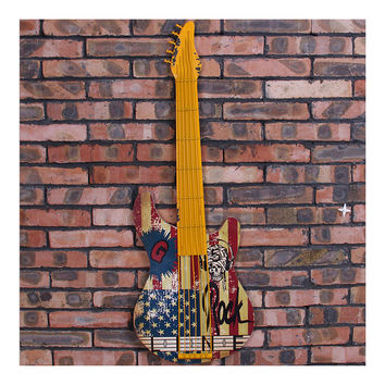 Vintage Iron Wood Guitar Wall Hanging Decoration    yellow