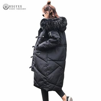 New Winter Coat Women 2017 Warm Winter Puffer Jackets Female Fur Collar Hooded Parka Wadded Coat Plus Size Outerwear Oka787