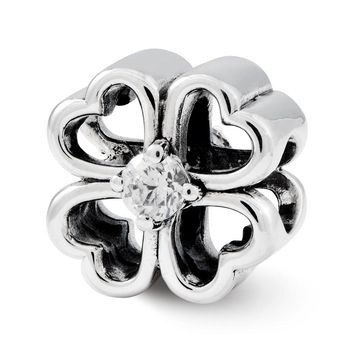 Four Leaf Heart Clover Cubic Zirconia and Sterling Silver Charm