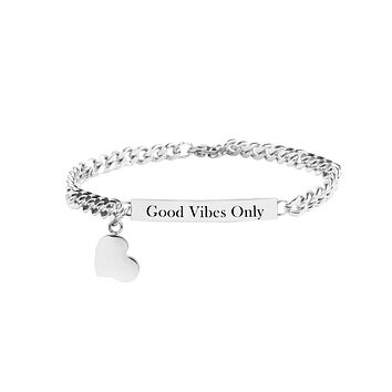 Solid Stainless Steel Inspirational ID bracelet by Pink Box