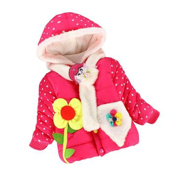 Winter Kids Clothes Baby Hooded Jacket Flower Children Outerwear Jackets Toddler Girls Thickening Clothing Parkas