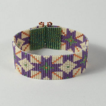 Arabic Mosaic Bead Loom Bracelet - Boho Chic, Hippie Jewelry - Purple White - Beaded Cuff - Wide - Beadweaing - Native American Style