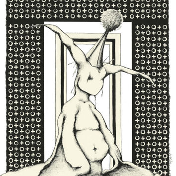 """Black and white art, pen and ink drawing, surreal artwork, 8x10 Limited Edition Art Print,""""Festivities"""""""
