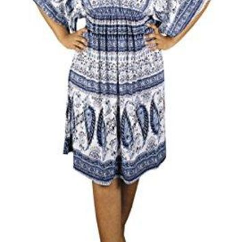 Peach Couture Womens Vintage Boho Casual Summer Paisley Batwing Blue Midi Dress