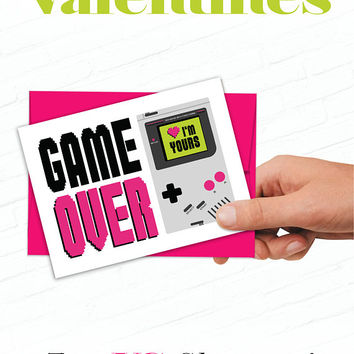 Nerdy Valentine, Geeky Valentines Card, Game Over Funny Valentine, Game Boy Valentine, Video Gamer Valentines Day Card, Valentine for Him