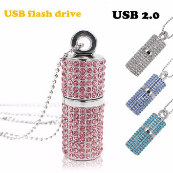 Usb Flash Drive 4G 8G 16G Pendrive 32G Pen Drive U Disk USB 2.0 drive Irish Diamond Crystal Memory Necklace Stick