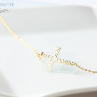 Sideways name cross necklace - personalized with names - 18K gold plated sterling silver - FedEx shipping