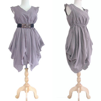 Sexy Women Pleated Party Light Gray Mini Dress / Cocktail Dress / Mini Dress - 'The Fairy' small to extra large