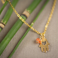 Hamsa necklace, gold hamsa necklace, gold-lace hamsa, delicate hamsa necklace,hand charm, hamsa charm, hamsa pendant, rubi necklace