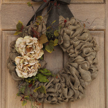 Beige Flower Burlap Wreath--Burlap Wreath--Earth Tone Burlap Wreath with Curly Twigs--Year Round Burlap Wreath