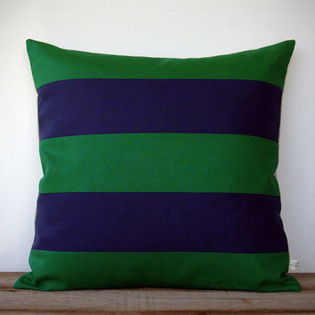 Rugby Striped Pillow Cover in Kelly Green and Navy Linen by JillianReneDecor - Modern Home Decor - Stripes - Emerald - Gift for Him