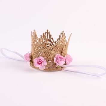 1 New Fashion Baby Girl Boy Headband Gold Lace Flower Crowns Hairband Princess Party Headwear Handmade Hair Band Accessories