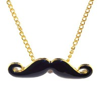 Small Handlebar Mustache Necklace Black Hipster Beard Vintage Dali Retro Statement Pendant