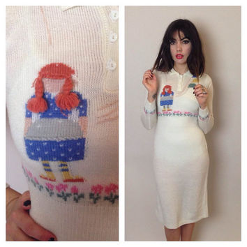 Vintage KNIT SWEATER DRESS - girl with balloons - long sleeves - hourglass - midi - small
