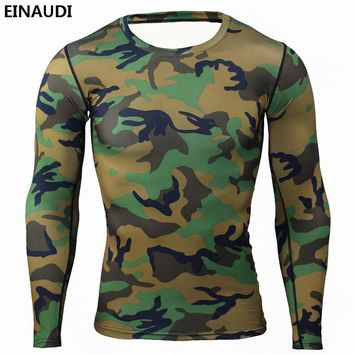 Mens Compression Base Layer Weight Lifting Fitness Tight MMA Crossfit Tops Rashguard T-shirt Camouflage Long Sleeves Tee S-XXXL