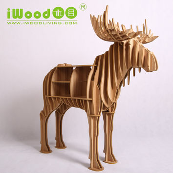 European Nordic artistic home craft ornaments simulation moose deer elk wooden creative home decorations decor free shipping