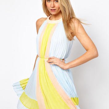 Ted Baker   Ted Baker Pleated Dress in Icecream Color Block at ASOS