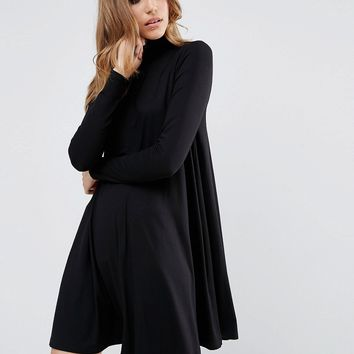 ASOS Swing Dress with Polo Neck & Long Sleeves