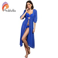 Andzhelika Swimsuit Cover Up  Women Sexy Beach Cover-Ups Chiffon Long Dress Solid Beach Cardigan Bathing Suit Cover Up
