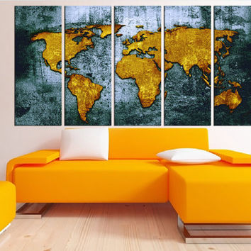 Old world map wall art canvas print, extra large wall art, textured world map canvas print rustic ready to hang, 5 panel gallery wrap N:4S93