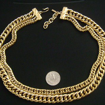 Fashionable Chic Vintage MONET Chunky 2 Strand Double Link Adjustable Extender Chain Collar Goldtone Necklace Heavy Piece Weight 222.5 Grams