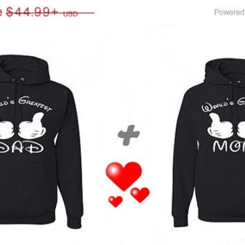 Valentine Sale Wolrd's Greatest DAD World's Greatest MOM Matching Couples Hoodies Sweatshirts in Red. Personalize by adding name or date