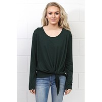 Side Tie Long Sleeve Top {Forest}