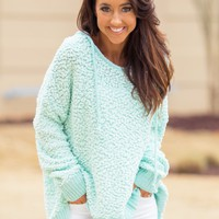 Lounging Around Hoodie in Mint   Monday Dress Boutique