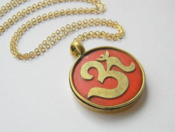 OM Tibetian Pendant Necklace - Gold Necklace - Red Copal - Boho Chic - Gift - Bohemian Necklace