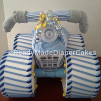 Blue Grey and Yellow Themed Baby Shower Four Wheeler Diaper Cake Table Centerpiece or Baby Boy Sprinkle Gift