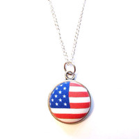 """Handmade """"Stars + Stripes"""" American Flag Pendant Necklace Fabric Button with Silver Chain"""