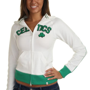 47 Brand Boston Celtics Womens Hardwood Classics Tennis Stretch Track Jacket - White/Kelly Green