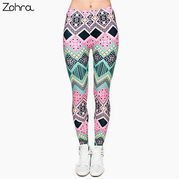 Aztec Printed Punk Stretchy Slim Leggings - Different Styles