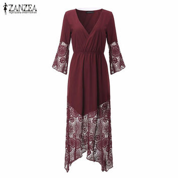 ZANZEA Women Lace Dress 2017 Sexy Deep V Neck Lace Patchwork Maxi Long Dress Loose Flare Sleeve Vestidos Plus Size Beach Dresses