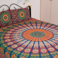 Bohemian Indian Queen Size Bedding 3 Piece Set Mandala Boho Hippie Bedspreads Tapestry and 2 Pillow Cases - Free Shipping