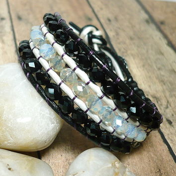 Black and White Leather Crystal BOHO Wide Cuff 7 1/2 Inch Bracelet