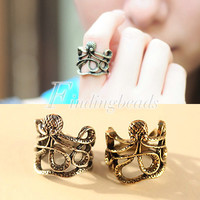 Hot Fashion Antique Cool Punk Gothic Vintage Paul Octopus Carved Ring Animals