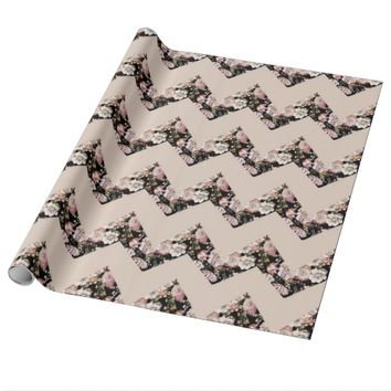 modern chic girly vintage floral cute pink chevron wrapping paper