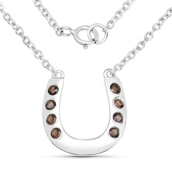 LoveHuang 0.24 Carats Genuine Smoky Quartz Horseshoes Necklace Solid .925 Sterling Silver With Rhodium Plating, 18Inch Chain