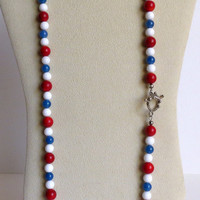 Necklace with Red Jasper, White Shell, Blue Agate and Sterling Silver Clasp, Statteam