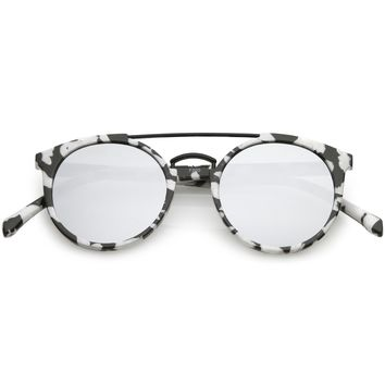Modern Horn Rimmed Sunglasses Marble Print Double Crossbar Round Flat Lens 50mm